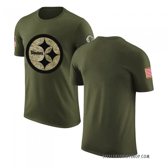 Men's Blank Pittsburgh Steelers Olive Salute to Service Legend T-Shirt