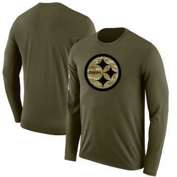 Men's Blank Pittsburgh Steelers Salute to Service Sideline Olive Legend Long Sleeve T-Shirt