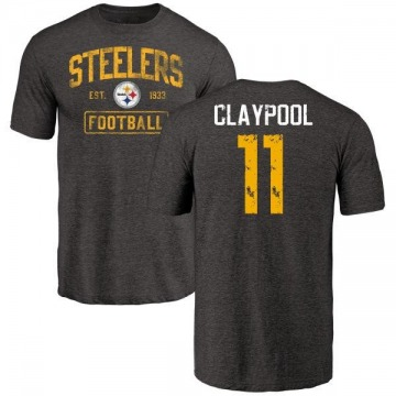 Men's Chase Claypool Pittsburgh Steelers Black Distressed Name & Number Tri-Blend T-Shirt