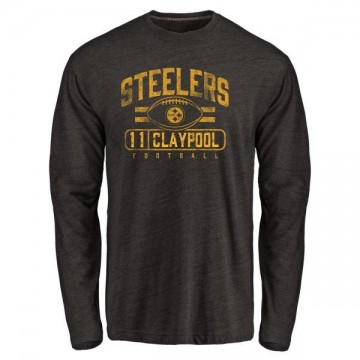 Men's Chase Claypool Pittsburgh Steelers Flanker Tri-Blend Long Sleeve T-Shirt - Black