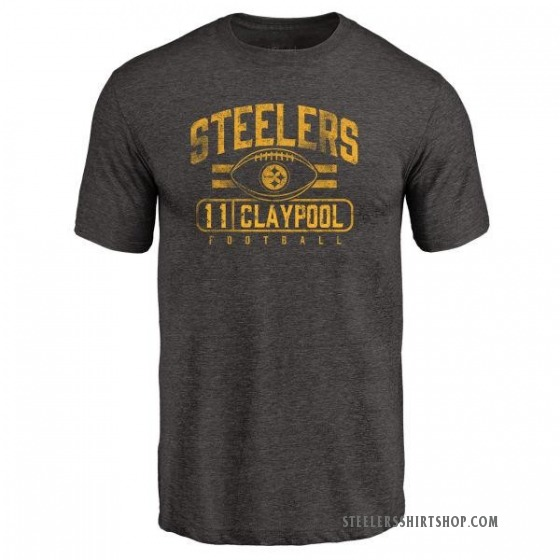 Men's Chase Claypool Pittsburgh Steelers Flanker Tri-Blend T-Shirt - Black