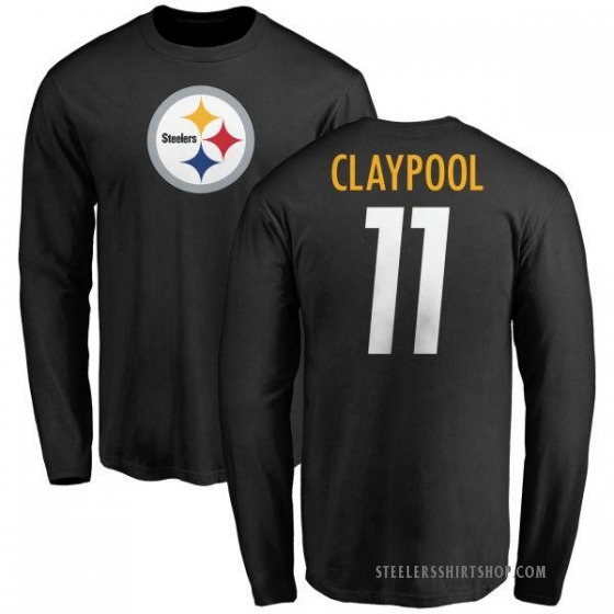 Men's Chase Claypool Pittsburgh Steelers Name & Number Logo Long Sleeve T-Shirt - Black