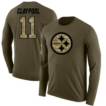 Men's Chase Claypool Pittsburgh Steelers Salute to Service Sideline Olive Legend Long Sleeve T-Shirt