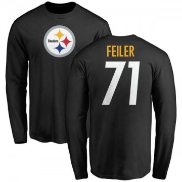 Men's Matt Feiler Pittsburgh Steelers Name & Number Logo Long Sleeve T-Shirt - Black
