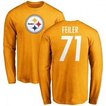 Men's Matt Feiler Pittsburgh Steelers Name & Number Logo Long Sleeve T-Shirt - Gold