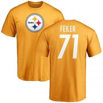 Men's Matt Feiler Pittsburgh Steelers Name & Number Logo T-Shirt - Gold