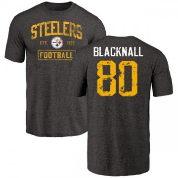 Men's Saeed Blacknall Pittsburgh Steelers Black Distressed Name & Number Tri-Blend T-Shirt