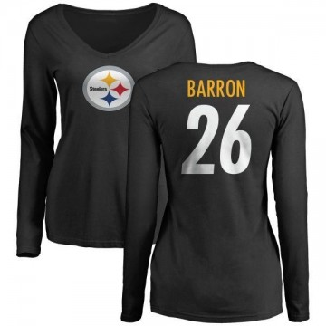 40a8e047027 Women s Mark Barron Pittsburgh Steelers Name   Number Logo Slim Fit Long  Sleeve T-Shirt