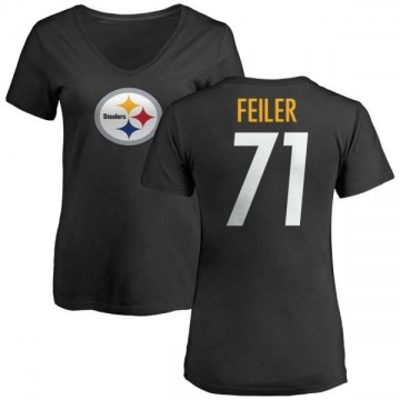 Women's Matt Feiler Pittsburgh Steelers Name & Number Logo Slim Fit T-Shirt - Black