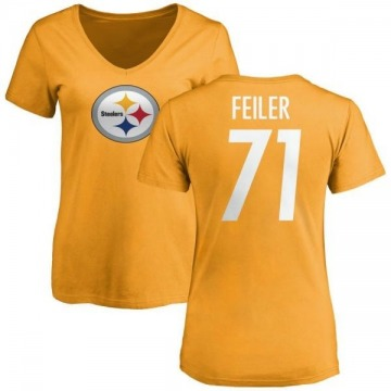 Women's Matt Feiler Pittsburgh Steelers Name & Number Logo Slim Fit T-Shirt - Gold