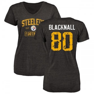 Women's Saeed Blacknall Pittsburgh Steelers Black Distressed Name & Number Tri-Blend V-Neck T-Shirt