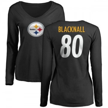 Women's Saeed Blacknall Pittsburgh Steelers Name & Number Logo Slim Fit Long Sleeve T-Shirt - Black
