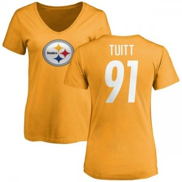 Women's Stephon Tuitt Pittsburgh Steelers Name & Number Logo Slim Fit T-Shirt - Gold