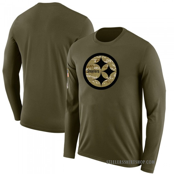Youth Blank Pittsburgh Steelers Salute to Service Sideline Olive Legend Long Sleeve T-Shirt